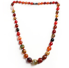 Tourmaline Color Burst Pattern Agate Graduated Beaded Necklace with Magnetic Clasp