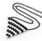 Wholesale Fashion Style Triangle Shape Wire Wrapped Black Agate and White Porcelain Stone Necklace with Metal Chain