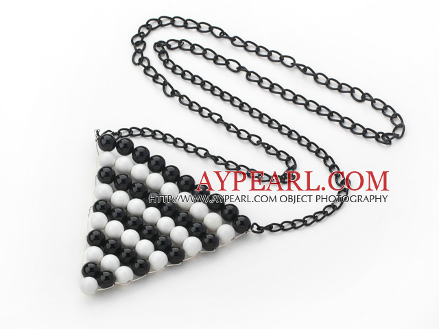 Style Triangle Shape Wire Wrapped Black Agate and White Porcelain ...