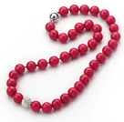 2013 Summer New Design Hot Pink Color Round 10mm Seashell Beaded Knotted Necklace with White Rhinestone Ball