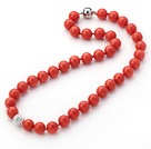 2013 Summer New Design Orange Red Color Round 10mm Seashell Beaded Knotted Necklace with White Rhinestone Ball