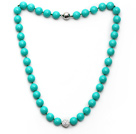 Wholesale 2013 Summer New Design Green Color Round 10mm Seashell Beaded Knotted Necklace with White Rhinestone Ball
