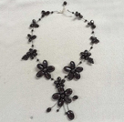 Beautiful Black Agate Flower Party Necklace