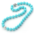 2013 Summer New Design Lake Blue Color Round 10mm Seashell Beaded Knotted Necklace with White Rhinestone Ball