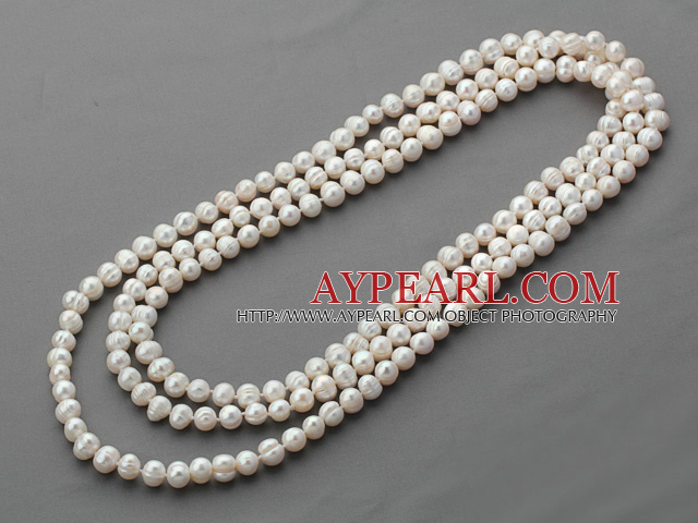 Long Style 8-9mm White Round Freshwater Pearl Beaded Knotted Necklace