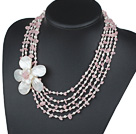 Wholesale Five Strands Pink Series Rose Quartz Chips and Freshwater Pearl and White Shell Flower Necklace