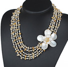 Wholesale Five Strands Yellow Series Citrine Chips and Freshwater Pearl and White Shell Flower Necklace