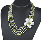 Wholesale Five Strands Green Series Peridot Chips and Freshwater Pearl and White Shell Flower Necklace