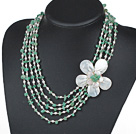 Five Strands Green Series Aventurine Chips and Freshwater Pearl and White Shell Flower Necklace