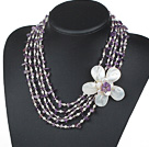 Five Strands Purple Series Amethyst Chips and Freshwater Pearl and White Shell Flower Necklace