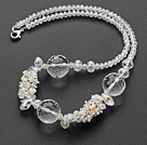 Assorted White Series Clear Crystal Necklace with Lobster Clasp