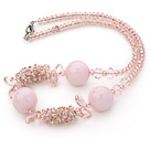 Wholesale Assorted Pink Series Pink Crystal and Rose Quartz Necklace with Lobster Clasp