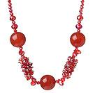 Wholesale Assorted Red Series Red Crystal and Faceted Carnelian Necklace with Lobster Clasp