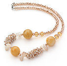 Wholesale Assorted Light Yellow Series Citrine and Yellow Jade Necklace with Lobster Clasp