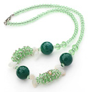 Assorted Green Series Green Crystal and Aventurine Necklace with Lobster Clasp