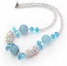 Wholesale Assorted White and Sky Blue Series Clear Crystal and Blue Jade Necklace with Lobster Clasp