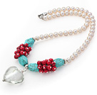 Wholesale Natural White Freshwater Pearl and Turquoise and Alaqueca Necklace with Heart Shape Colored Glaze Pendant