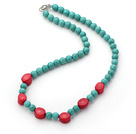 Single Strand Round 8mm Turquoise Beads and Red Coral Necklace