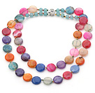 Wholesale Two Strands Assorted Flat Round Multi Color Burst Pattern Agate Necklace