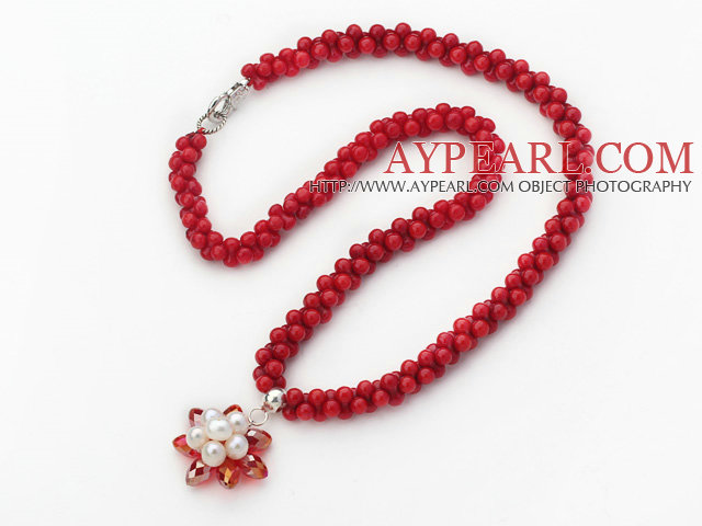 New Design 5mm Red Coral Necklace with Red Crystal and White Pearl Flower Pendant