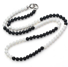 Wholesale Long Style 8mm Round White Porcelain Stone and Black Agate Beaded Necklace