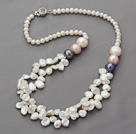 Two Layer White Rebirth Pearl and Round Pearl Necklace