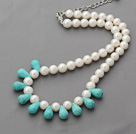 Wholesale A Grade Round White Freshwater Pearl and Drop Shape Turquoise Necklace