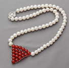 Wholesale 6-7mm Natural White Round Freshwater Pearl Necklace with Wire Wrapped Triangle Shape Carnelian Pendant