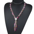 Wholesale Assorted Pink Series Pink and Multi Color Round Jade Y Shape Necklace with White Freshwater Pearl