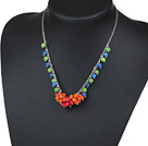 Wholesale Assorted Blue and Green and Red Dyed Turquoise Necklace with Metal Chain