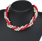 Three Strands White Freshwater Pearl and Red Dyed Turquoise Twisted Necklace