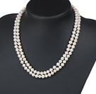 Double Rows 6-7mm Natural White Round Freshwater Pearl Beaded Knotted Necklace
