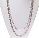 Long Style Round Clear Crystal and Gray Agate Beaded Necklace
