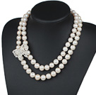 Wholesale Double Rows 12-14mm Natural Round Freshwater Pearl Beaded Necklace with Butterfly Shape Rhinestone Accessory