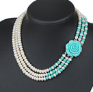 Three Strands Natural White 6-7mm Freshwater Pearl and Turquoise Necklace with Blue Turquoise Color Acrylic Flower Clasp