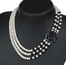 Three Strands Natural White 6-7mm Freshwater Pearl and Black Agate Necklace with Black Acrylic Flower Clasp