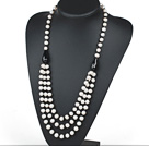 Three Layer Natural White Freshwater Pearl and Black Agate Necklace with Moonlight Clasp