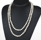 Long Style 9-10mm White Freshwater Pearl Beaded Knotted Necklace