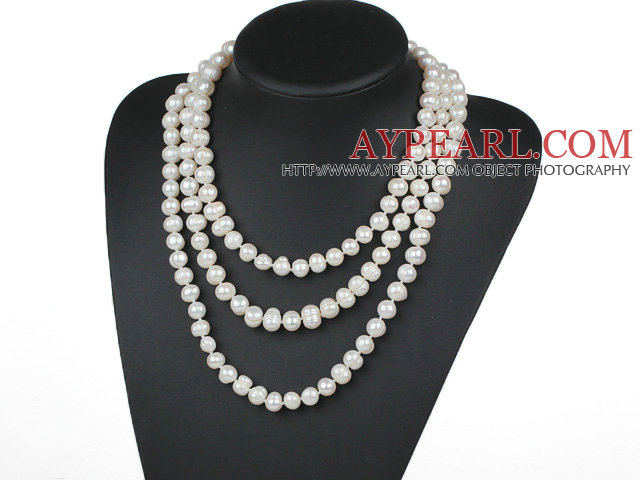 Long Style 10-11mm White Freshwater Pearl Beaded Knotted Necklace
