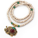 New Design Round Howlite and Aventurine Beaded Necklace with Beautiful Elephant Pendant