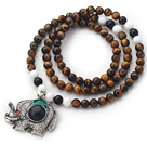Wholesale New Design Round Tiger Eye and Black Agate and White Sea Shell Beaded Necklace with Beautiful Elephant Pendant