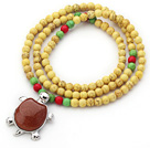 Wholesale New Design Round Dyed Yellow Turquoise Beaded Necklace with Beautiful Turtle Pendant