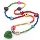 Wholesale Long Style Assorted Dyed Multi Color Turquoise Necklace with Heart Shape Pendant