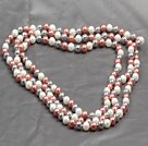 5 Pieces White and Black Color Painted Shell Necklace with Lobster Clasp