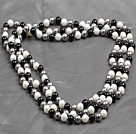 5 Pieces Lake Blue Color Painted Shell Necklace with Lobster Clasp