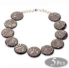 5 Pieces Black Color Spot Painted Shell Necklace with Lobster Clasp