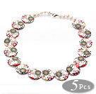 Wholesale 5 Pieces Multi Color Painted Shell Necklace with Lobster Clasp