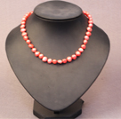 Simple Trendy Style Women Natural Bright Orange Potato Pearl Necklace