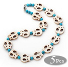 Wholesale 5 Pieces White Howlite Skull and Blue Turquoise Necklaces with Lobster Clasp