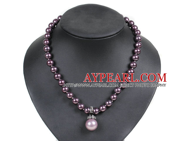 Graceful Deep Purple Seashell Beads Pendant Necklace With Heart Toggle Clasp